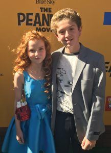 A.J. Tecce with castmate Francesca Capaldi, who plays the Little Red-Haired Girl